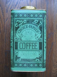 Wooow!! Love the color!! 8 l/4 in tall! Love tall coffee tins!!! Other sides show made in Rhode Island by Lyons