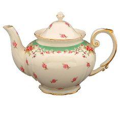 Rose Tea pots   Green Vintage Rose Tea Pot - this would match a beautiful old rose jug ...