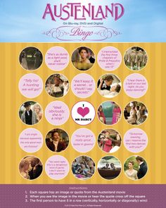 What's more perfect for a movie night then Bingo? Austenland Movie, Emma Woodhouse, All The Small Things, Silly Things, Elizabeth Gaskell, Horse Therapy, Bingo Board, Our Last Night, Jane Austen Books