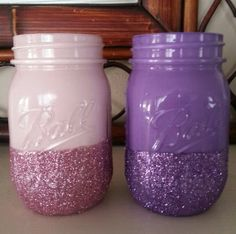 Mason jar painted and dipped in glitter by Housewifeknits on Etsy, $7.50