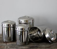 Tin Kitchen Canisters by Heritage 1956 @ Uncovet #vintage