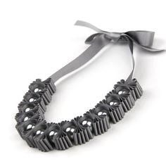 Grey Chunky 5 Pleat Statement Ribbon Necklace - Gift for Her - Pearl Necklace - Ribbon Necklace - Maneggi Jewellery - Wedding Jewellery Ribbon Jewelry, Ribbon Necklace, Beaded Jewelry, Pearl Necklace, Handmade Jewelry, Beaded Necklace, Pli, Ribbon Crafts, Grosgrain Ribbon