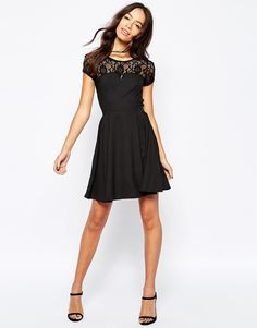 Image 4 of New Look Lace Insert Skater Dress
