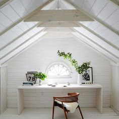 When I bought this #farmhouse this was a dark, scary #attic with pull down steps. As soon as we walked up there I saw the #rafters and #beams and knew this was going to be my #dreamoffice. Just add #White. (Sidenote: the #customstairwell I'm standing next to for the #DominoMag spread was commissioned from @woodnwrench to be the new stairwell up to this room.) // #LeanneFordInteriors shot by @nicole_franzen for @dominomag #Regram via @leannefordinteriors