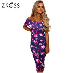 Zkess Elegant Floral Print Midi Dress Women off shoulder Bodycon Dress  Vestidos Summer Knee Length Sexy Party Dresses 0987f3b060cd