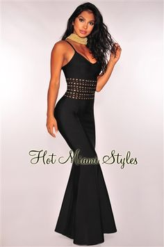 7c32e1d5239 Black Bandage Lace Up Waist Mermaid Gown Hot Miami Styles
