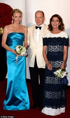 Princess Charlene of Monaco, Prince Albert II of Monaco and Princess Caroline of Hanover attend the 65th Monaco Red Cross Ball Gala at Sporting Monte-Carlo