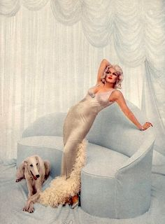 Marilyn Monroe as Jean Harlow (by Richard Avedon with a beautiful Borzoi
