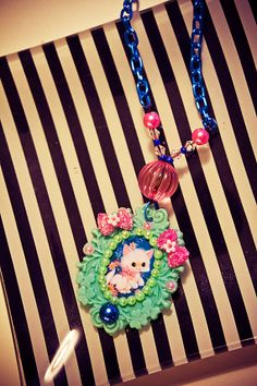 Kitsch Kawaii Kitten Cameo Necklace  One of a Kind by Octopug, $18.50