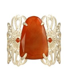 Carnelian and 14K gold over brass finished cuff bracelet | Kendra Scott Cambrie