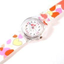 Heart Watch Multicolor White Plastic Band Strap Adjustabl