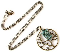 owl necklace tree necklace long necklace whimsical by KriyaDesign, $24.00