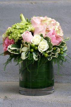 Green Bouquet Floral Design; flower arrangement of orange roses ...