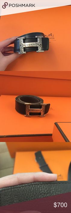 Authentic Hermes Issassis Women's Belt Silver 100% authentic- do not badger me about this. Gorgeous Hermes reversible belt with an unique and rare to find belt buckle (could not remember exact name but it is from the same family as the men's Issassis Touareg model). The belt buckle is solid silver and the 32mm size. The belt itself is reversible (black and brown) leather. Size 90 (please refer to sizing guides provided by Hermes or online). Pre-loved but has SO much life left. Ask all…