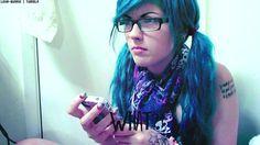 blue wavy pigtail hair #gif #Leda Muir