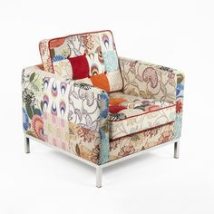 Hans Andersen Home Draper Multi-Color Upholstered Lounge Chair (The Draper Lounge Chair), Blue (Fabric) Modern Home Furniture, Online Furniture, Contemporary Furniture, Deck Chairs, Club Chairs, Lounge Chairs, Easy Chairs, Patchwork Chair, Lounge Chair Design