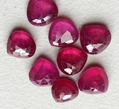 1 Pc Ruby Heart Cabochons Glass Filled Ruby Flat by gemsforjewels