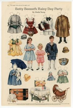 76.2935: Betty Bonnet's Rainy Day Party | paper doll | Paper Dolls | Dolls | National Museum of Play Online Collections | The Strong