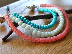Turquoise Aqua and Coral Bib Neckalce by RachelUngerJewelry, $64.00