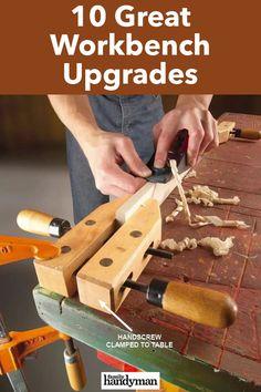 10 Great Workbench Upgrades Building A Workbench, Workbench Top, Workbench Plans, Rosin Paper, Miter Saw Table, Hanger Bolts, Wood Brackets, Shop Layout, Clever Diy