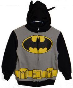 Batman Logo Boys Zip Up Costume Hoodie Sweatshirt (Boys 8) @ niftywarehouse.com #NiftyWarehouse #Batman #DC #Comics #ComicBooks