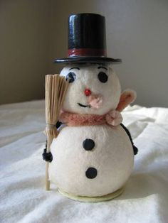 Vintage Spun Cotton Snowman with Top Hat by ScrubJayTreasures