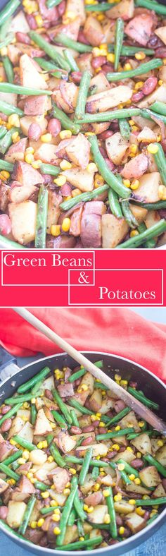 Simple green beans and potatoes recipe made with simple spices. Side dish or perfect lunch meal for vegans, vegetarians and omnivores alike. Takes 30 min or less