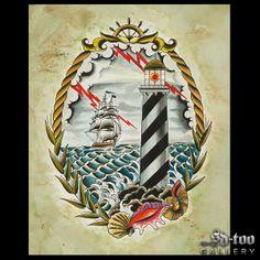 "Lighthouse - 16x20"" Inkjet Giclee Art Print - SD-too Gallery - Tonya Van Parys - The Red Crow Studio Tattoo Artist Print - http://shop.sd-too.com"