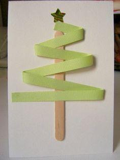 kids cards ribbon stick 30 Jópofa, gyerekekkel könnyen elkészíthető Karácsonyi képeslap