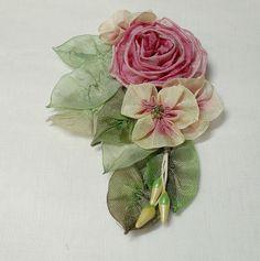 Ribbon work flowers by lambsandivydesigns.com, via Flickr