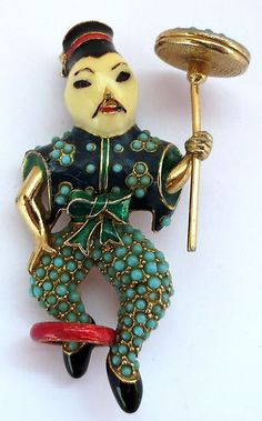 Vintage Fabulous RARE Large Ciner Asian Acrobat Enamel Brooch Excellent Cond | eBay