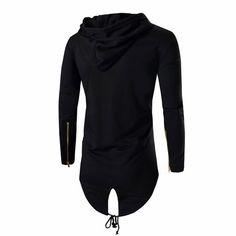 Línea larga de los hombres sudadera con capucha ropa de abrigo masculino de hip hop streetwear clothing hoodies largos hombres frescos sudaderas moleton masculino