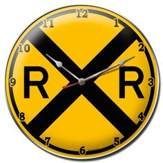 Railroad Train Crossing Metal Wall Clock Sign 14 x 14 Inches, Vintage Style Retro Garage Art Home Decor RR113 by HomeDecorGarageArt on Etsy