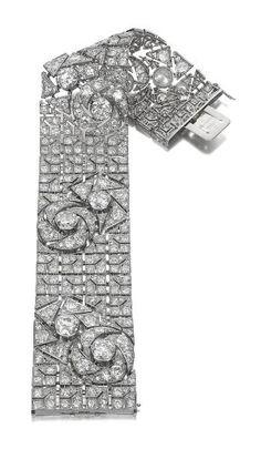 Art Deco Diamond Rose Bracelet by Boucheron, Paris, circa 1925