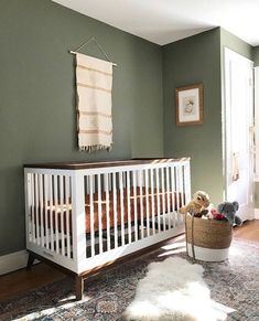 Scoot Convertible Crib with Toddler Bed Conversion Kit - Nursery Nursery Paint Colors, Nursery Design, Unisex Nursery Colors, Baby Room Colors, Baby Boy Rooms, Baby Boy Nurseries, Modern Nurseries, Neutral Nurseries, Green Baby Rooms
