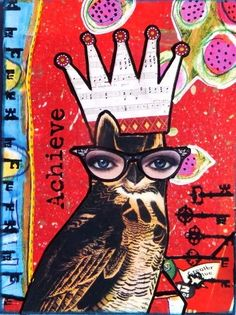 'Owl of Achievement' by Sid Haselden Idea for Artist Trading Cards - card must include one human element, one animal element, and one object....images cut from magazines