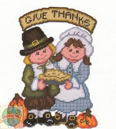Plastic Canvas Kit ~ Design Works Give Thanks Pilgrims Wall Hanging #DW2061 SALE…
