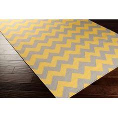 Hand-woven Mustard Chevron Yellow Wool Rug (5' x 8')   Overstock.com Shopping - The Best Deals on 5x8 - 6x9 Rugs