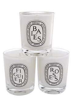 Votive Candle Set by Diptyqye. This collection of three mini candles by diptyque. Mini Candles, Votive Candles, Scented Candles, Rose Candle, Candle Set, Candle Holders, Chandeliers, Diptyque Candles, Diffuser
