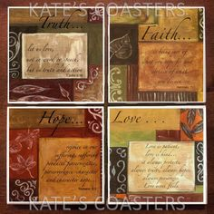 Set of 4 Truth Faith Hope Love ceramic tile coasters, by KatesCoasters, $10.00