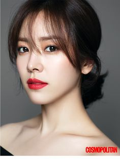 Actress Han Ji-min is a enthralling fall woman in her new pictorial for magazine Cosmopolitan. The synonymous name for a pure and innocent image, actress Han Ji-min has presented the five fall makeup looks in her pictorial taken for magazine Cosmopolitan. Bridal Makeup Red Lips, Red Lipstick Makeup, Hair Makeup, Bright Lipstick, Eye Makeup, Korean Makeup, Korean Beauty, Asian Beauty, Asian Makeup Natural