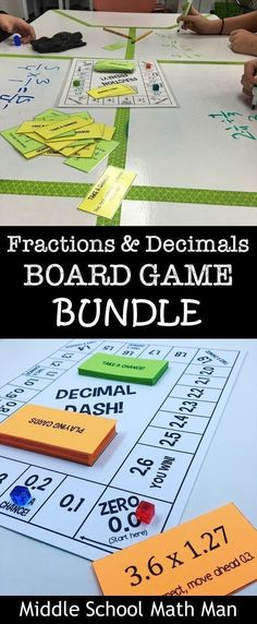 This Fractions and Decimals Board Game Bundle includes 6 math board games to that help students practice adding/subtracting fractions, multiplying fractions, dividing fractions, adding/subtracting decimals, multiplying decimals, and dividing decimals! These games are a great way for students to have fun while learning these important math skills! #mathpracticegames #mathgames