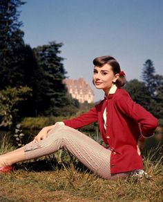 In 'Love in the Afternoon'. Hepburn is one of the few stars who has won an Oscar, Emmy, Grammy and Tony award.