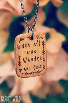 Wander Lost wood pendant, pyrography pendant, hippie wood brooch, gypsy fashion, boho necklace, freepeople pendant, wanderlust wood burned