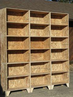 modular osb bookshelf unfinished 3 by 3. via Etsy.