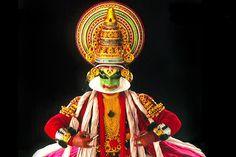 kathakali character in kerala, india.