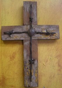 Old Wood Cross W Barbed Wire
