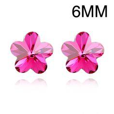 Sweet Big Flower Stud Earrings Made With Swarovski Element Flower Crystal from Swarovski Fashion Women Jewellery Diameter 6MM #Affiliate
