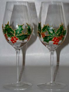 Pair of hand painted Holly wine glasses hand wash by dollybellamy, $40.00