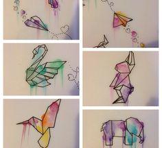 ideas for origami drawing crafts Geometric Art, Watercolor Art, Art Painting, Art Drawings, Drawings, Doodle Art, Geometric Drawing, Painting Art Projects, Origami Art